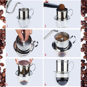 Coffee Filter Press, Stainless Steel Vietnamese Coffee Filter Set