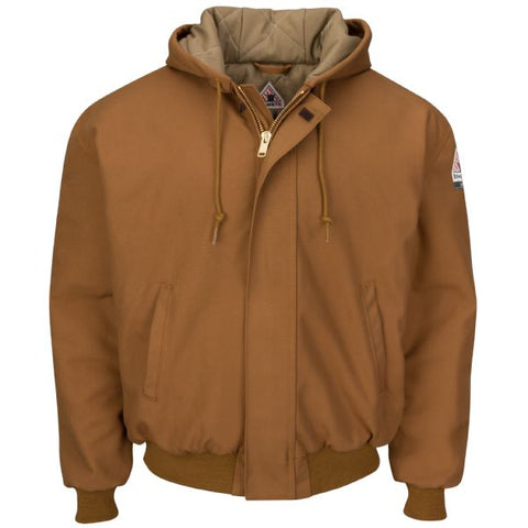 BULWARK BROWN DUCK HOODED JACKET WITH KNIT TRIM (JLH6BD)