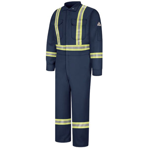 BULWARK Navy PREMIUM COVERALL WITH CSA COMPLIANT REFLECTIVE TRIM - EXCEL FR (CLBC) - True Safety Gear