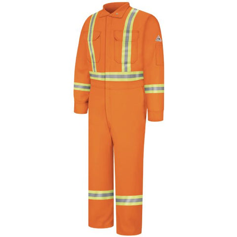 BULWARK Orange PREMIUM COVERALL WITH CSA COMPLIANT REFLECTIVE TRIM - EXCEL FR (CLBC)