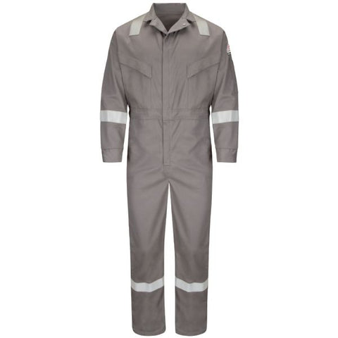 BULWARK Grey DELUXE COVERALL WITH REFLECTIVE TRIM - EXCEL FR (CLDT) - True Safety Gear