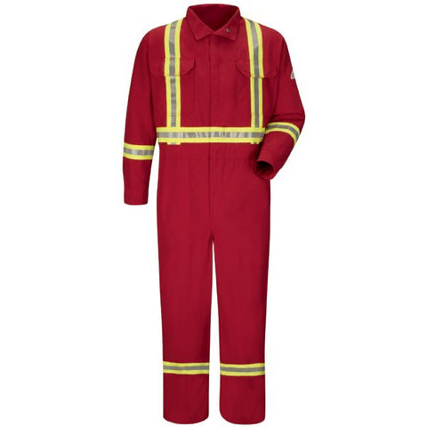 BULWARK Red PREMIUM COVERALL WITH CSA COMPLIANT REFLECTIVE TRIM - NOMEX (CNBC) - True Safety Gear
