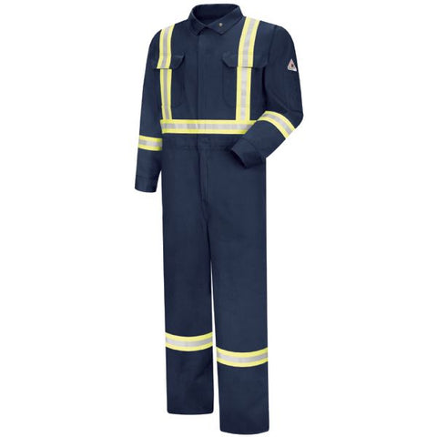 BULWARK Navy PREMIUM COVERALL WITH CSA COMPLIANT REFLECTIVE TRIM, 7OZ - EXCEL FR (CTBA) - True Safety Gear