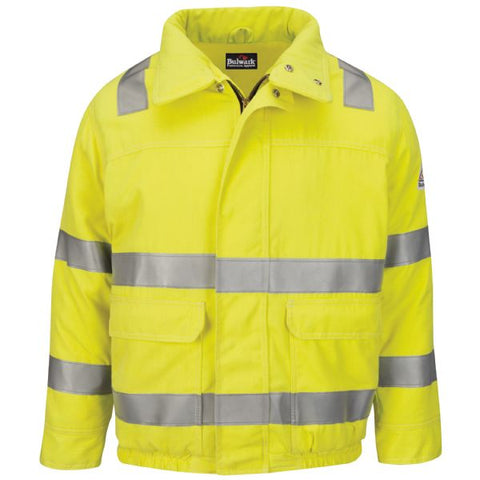 BULWARK HI VIS LINED BOMBER JACKET WITH REFLECTIVE TRIM - COOLTOUCH®2 (JMJ4HV)