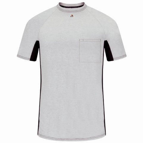 BULWARK SHORT SLEEVE FR TWO-TONE BASE LAYER WITH CONCEALED CHEST POCKET- EXCEL FR ( MPS4) - True Safety Gear