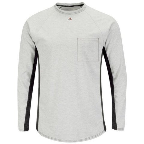 BULWARK LONG SLEEVE FR TWO-TONE BASE LAYER WITH CONCEALED CHEST POCKET - EXCEL FR (MPS8) - True Safety Gear