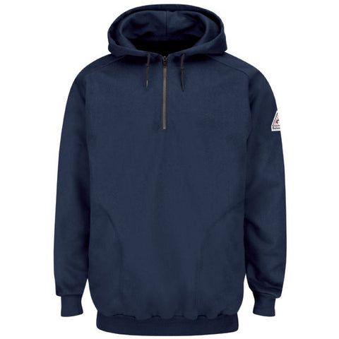 BULWARK PULLOVER HOODED FLEECE SWEATSHIRT WITH 1/4 ZIP (SEH8NV) - True Safety Gear