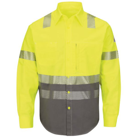 BULWARK HI-VISIBILITY COLOR BLOCK UNIFORM SHIRT - EXCEL FR COMFORTOUCH (SLB4) - True Safety Gear