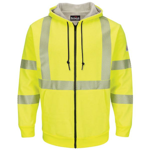 BULWARK HI-VISIBILITY ZIP-FRONT HOODED FLEECE SWEATSHIRT WITH WAFFLE LINING (SMZ4HV)