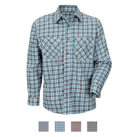 BULWARK  PLAID UNIFORM SHIRT - EXCEL FR COMFORTOUCH (SLD6 ) - True Safety Gear