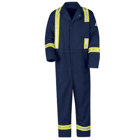 Bulwark Navy CLASSIC COVERALL WITH REFLECTIVE TRIM - EXCEL FR (CECT) - True Safety Gear