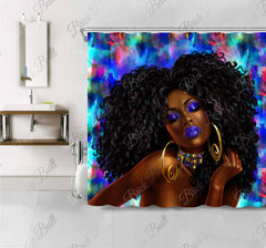 Glam Coco Blue Shower Curtain