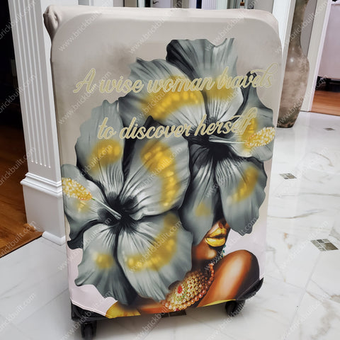 black woman luggage cover