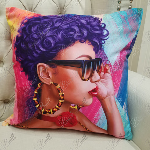 Purple Hair Don't Care Pillow Cover