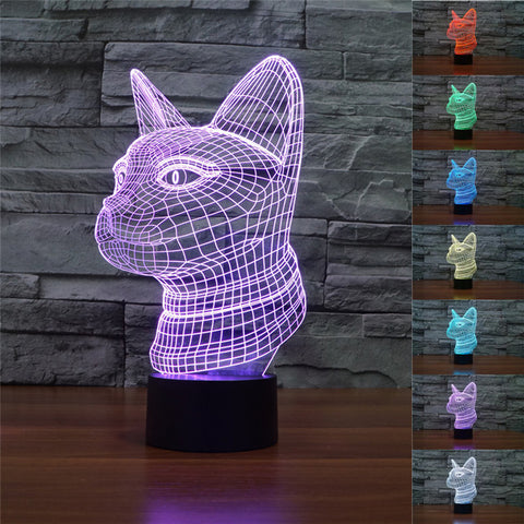 3D Siamese cat Illusion Lamp 7 Color Changing Cat Lights