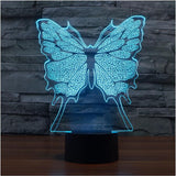 3D illusion Lamp LED Night Light Cartoon 3D butterfly 7 Colors Acrylic
