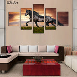 Black Horse OnThe Grass Canvas Print