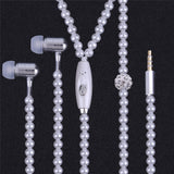 Personal Women Pearl Plated Necklace Design Earphone Super Stereo