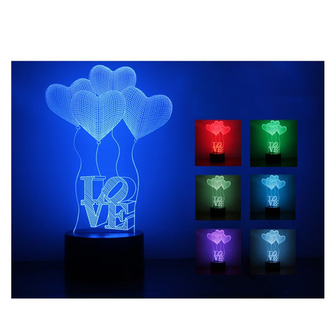 3D illusion Lamp LED Night Lights 3D Love Heart Acrylic