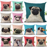Pillowcase Pug Dog Cushion Cover Woven Linen Car Chair Seat 18x18 inches