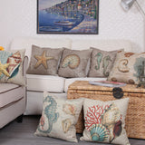 Retro Style European Retro Style Marine Biology Cushion Cover