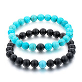 8mm Stone Couple Bracelet for Women Men Lovers Bracelets Fashion