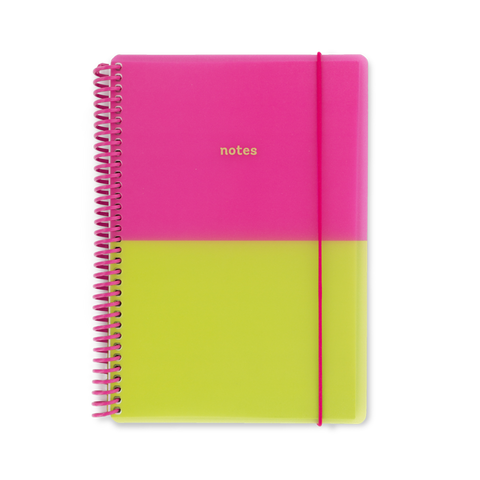 A5 polyprop notebook - Pink/Lime
