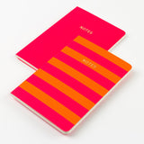 A6 set of 2 notebooks - Pink/Orange Stripe