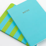 A6 set of 2 notebooks - Teal/Lime Stripe
