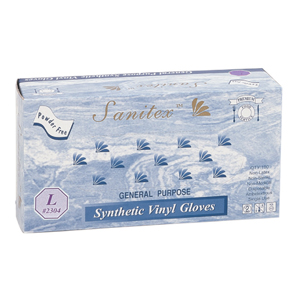 Sanitex- Synthetic Vinyl Gloves- Powder Free- Medium- 100ct