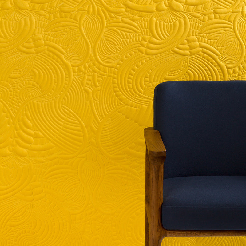 Arte x Moooi Wallcovering 'Dodo Pavone' Wallpaper Roomset Armachair