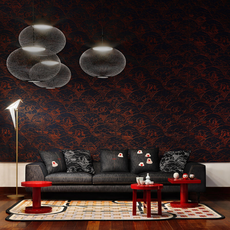 Arte x Moooi Wallcovering 'Indigo Macaque' Wallpaper Roomset