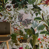 Arte x Moooi Wallcovering Menagerie of Extinct Animals Wallpaper Nut Dining Chair