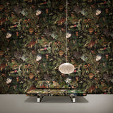 Arte x Moooi Wallcovering Menagerie of Extinct Animals Wallpaper Power Nap Sofa