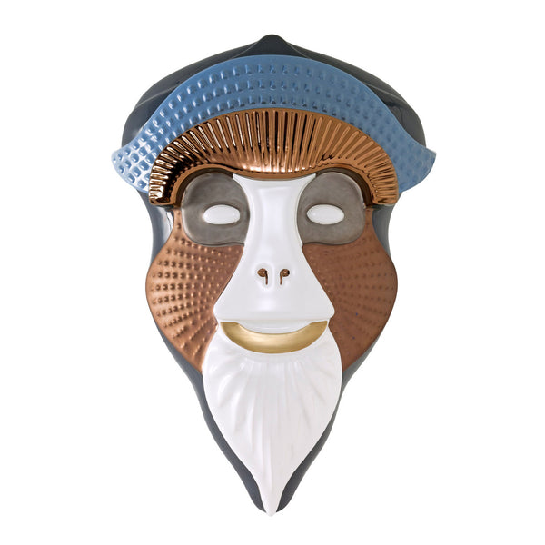Bosa Primates 'Brazza' Mask by Elena Salmistraro Lead Grey / White