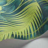 Cole and Son Palm Jungle Wallpaper Petrol & Lime 112/1002 Detail