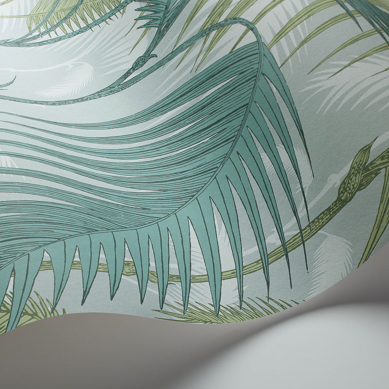 Cole and Son Palm Jungle Wallpaper Seafoam 112/1001 Detail