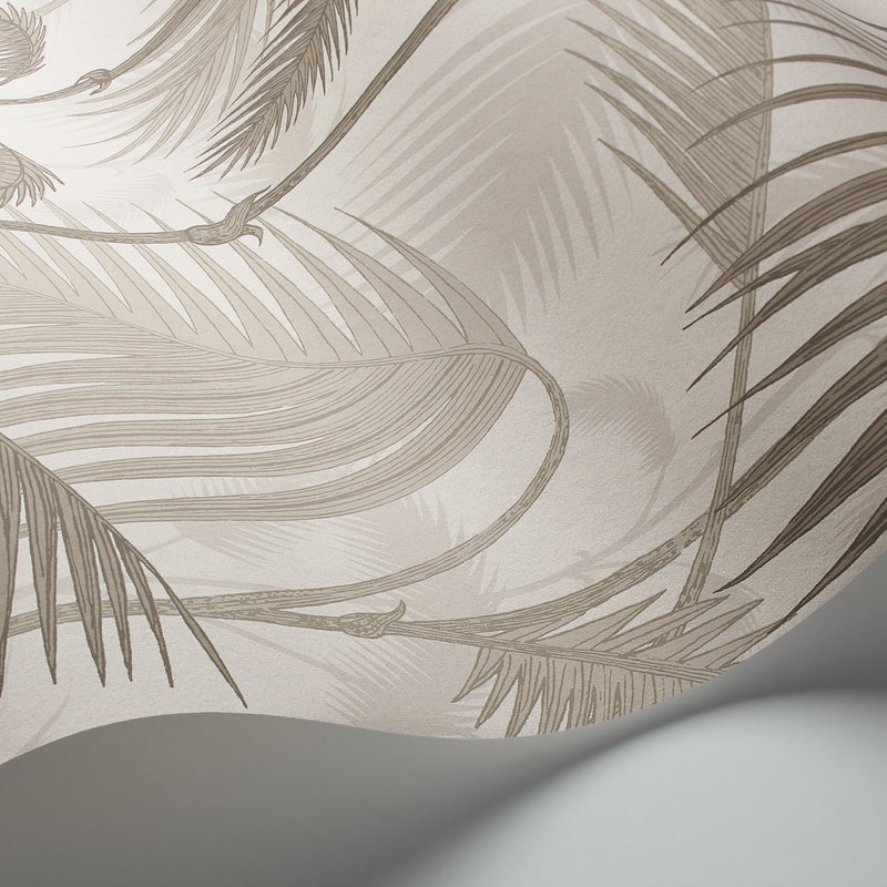 Cole and Son Palm Jungle Wallpaper Stone & Taupe 112/1004 Detail