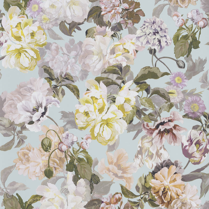 Designers Guild 'Delft Flower' Wallpaper Charcoal Duck Egg