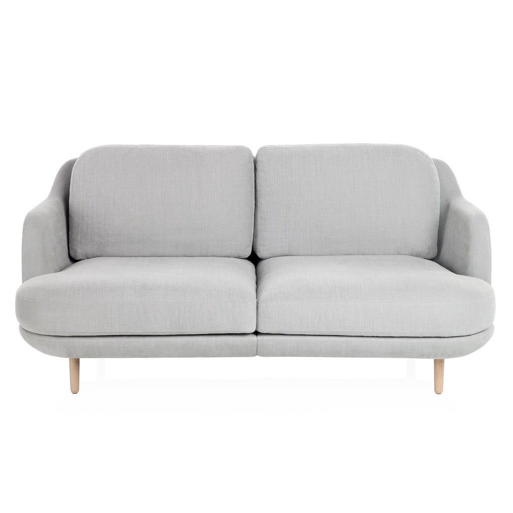 Fritz Hansen Lune 2-Seater Sofa Eucalyptus Fabric Oak Base