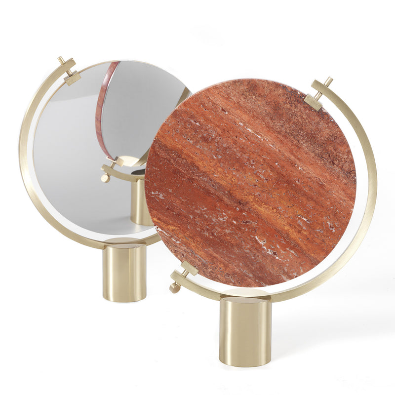 JCP Universe 'Naia' Table Mirror by CTRLZAK Red Travertine