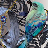 Kit Miles 'Birds In Chains' Wallpaper Blue & Gold Detail