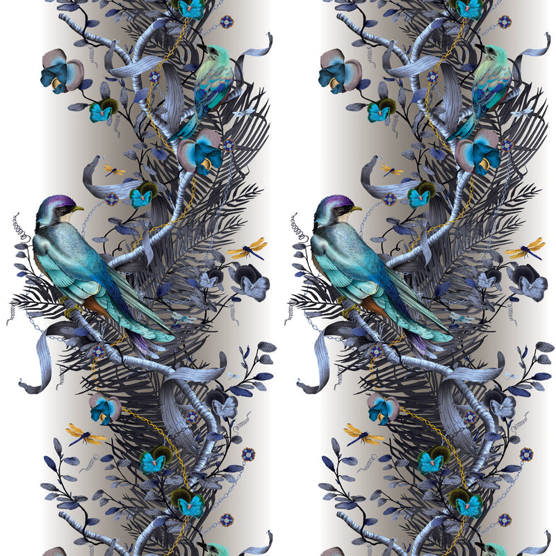 Kit Miles 'Birds In Chains' Wallpaper Blue & Gold