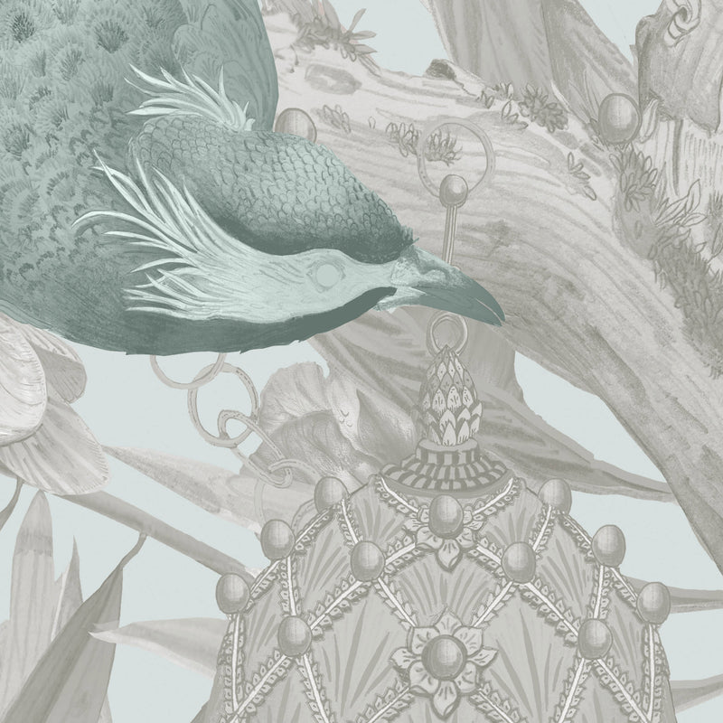 Kit Miles 'Ecclesiastical Botanica' Wallpaper Stone/ Duck Egg Blue Detail