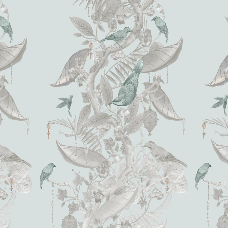 Kit Miles 'Ecclesiastical Botanica' Wallpaper Stone/ Duck Egg Blue