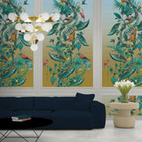 Kit Miles 'Ecclesiastical Botanica' Wallpaper Teal / Sky Blue Roomset