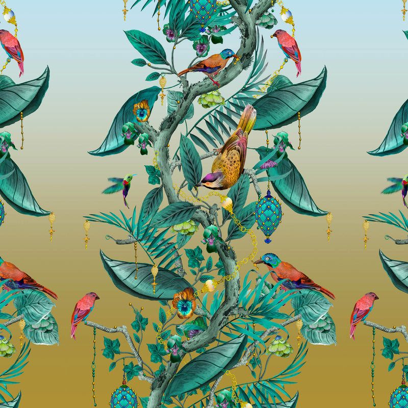 Kit Miles 'Ecclesiastical Botanica' Wallpaper Teal / Sky Blue
