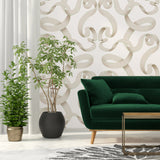 Kit Miles 'Emperor Damask' Wallpaper Ice Blossom Roomset