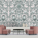 Kit Miles 'Europa' Wallpaper Moss / Pink Roomset