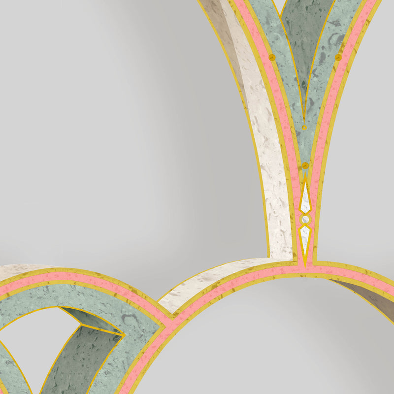 Kit Miles 'Tiber Archways' Wallpaper Peach with Emerald Green Detail